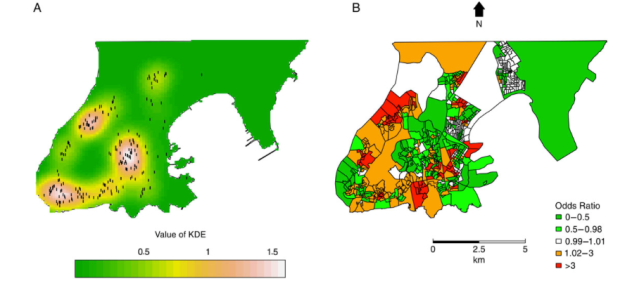 Kernel density estimation (KDE) map of clustered strains (A) and empirical Bayesian odds ratio estimates (cases:controls) (B). A, The white color represents areas with the most intense concentration of clustered strains (dots). Bayesian analysis was made on a census tract scale whereas the kernel densities used points.