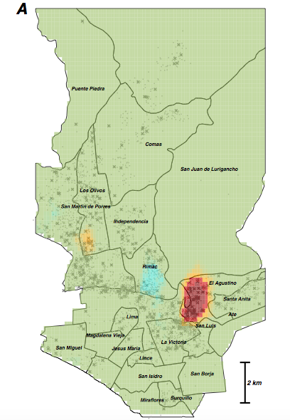 Map from the Peru study (link above), showing concentrated MDR-TB risk measured using household GPS location and MDR phenotype