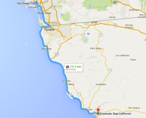 Our route from San Diego down to Tijuana/San Isidro, and south to the Ensenada prison